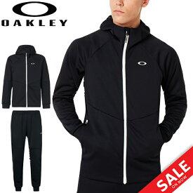 ジャージ 上下セット ジャケット パンツ メンズ オークリー OAKLEY Enhance Grid Fleece Jacket Pants SET 9.7 上下組/スポーツウェア 黒 ブラック 男性 セットアップ 普段使い/472584-422635