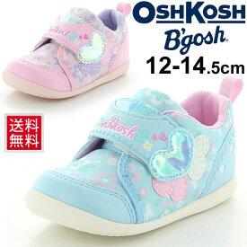 ベビーシューズ 女の子 子ども OSHKOSH オシュコシュ スニーカー 花柄 子供靴 12.0-14.5cm ハート ガーリー かわいい 幼児 女児 カジュアル ムーンスター moonstar/OSK-B430