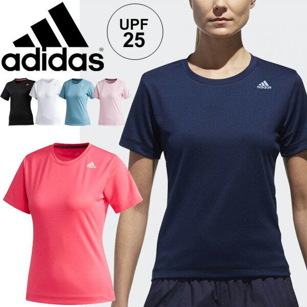 Tシャツ 半袖 レディース/アディダス adidas D2M トレーニングウェア/定番 ロゴ ワンポイント 女性 ランニング フィットネス ジム トップス 無地 スポーツウェア/EUD14
