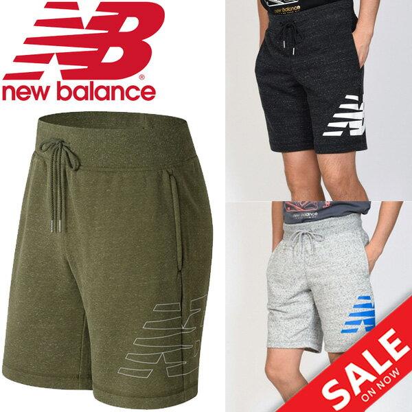 スウェット ハーフパンツ メンズ ニューバランス newbalance ヘザーショーツ 男性用 ボトムス ショートパンツ ビッグロゴ カジュアル スポーツウェア スエット 短パン 半ズボン/AMS81536