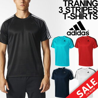 T恤阿迪达斯人短袖衬衫adidas D2M训练3条纹跑步体育休闲装男性顶端/BUM28