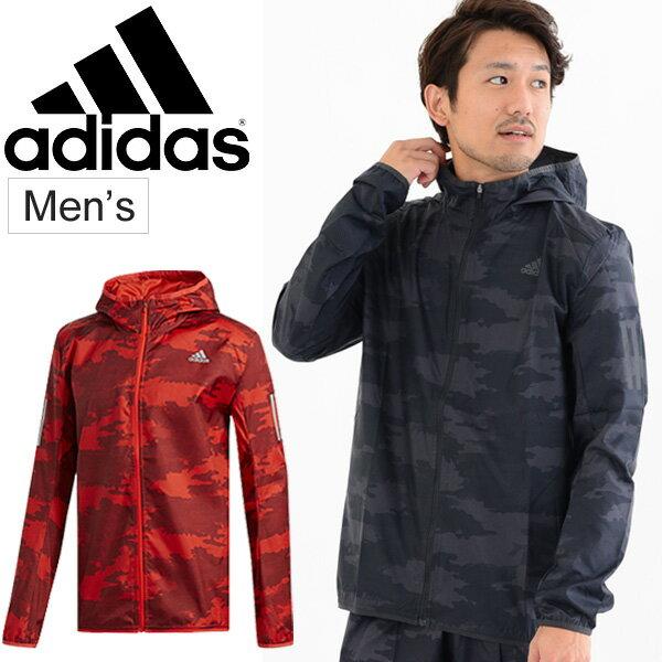 ウィンドブレーカー ジャケット メンズ アディダス adidas RESPONSE フード付 グラフィック/スポーツウェア 男性用 アウター ウインドブレイカー/ランニング ジョギング ワークアウト ジム/EWD85