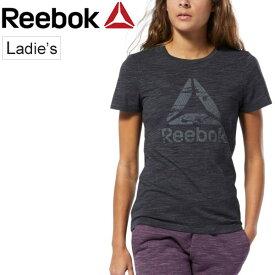 半袖Tシャツ レディース リーボック Reebok TE マーブル ロゴグラフィック S/S TEE/スポーツ 自宅トレーニングウェア フィットネス ジム/ビッグロゴ 半袖シャツ 女性用 トップス /FLI82
