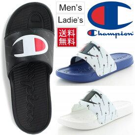 シャワーサンダル スポーツサンダル メンズ レディース チャンピオン Champion CP LS009 スレイ/スライドサンダル 3E幅 ビッグロゴ シューズ ブラック ホワイト ブルー 男女兼用 スポサン シャワサン 靴/LS-009