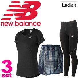 ランニングウェア 3点セット レディース ニューバランス newbalance 半袖Tシャツ ショートパンツ ロングタイツ AWT73128 WS73134 AWP63132 スポーツウェア 女性 マラソン トレーニング/NBset-E