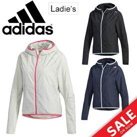 ウィンドブレーカー ジャケット レディース/アディダス adidas D2M ウインドジャケット/トレーニングウェア 女性用 フード付き アウター 裏起毛 フルジップ ウインドブレイカー スポーツウェア/FAO65