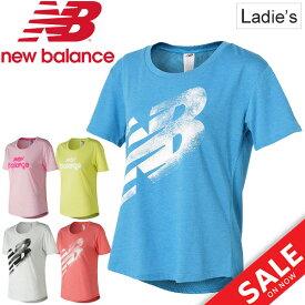 Tシャツ 半袖 レディース ニューバランス newbalance ヘザーテック TEE スポーツウェア ビッグロゴ 女性用 半袖シャツ クルーネック ランニング ジムトレーニング フィットネス トップス /AWT73124-W