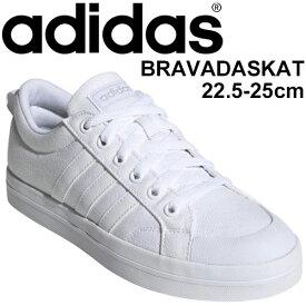 スニーカー シューズ レディース/アディダス adidas ブラバダスケート BRAVADASKATE/ローカット キャンバス 3ライン シンプル 靴 女性 白靴 ホワイト スポーツカジュアル KYH469 くつ/FV8099