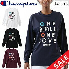 Tシャツ 長袖 レディース チャンピオン champion WOMEN'S E-MOTION プラクティスL/STシャツ バスケットボール スポーツウェア トレーニング 女性用 長袖シャツ クルーネック ロゴ 練習 部活 トップス/CW-QB416