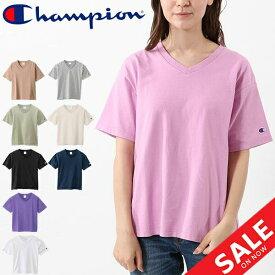 Tシャツ 半袖 レディース チャンピオン champion BASIC Vネック TEE 女性 半袖シャツ 無地 タウンユース スポーツカジュアル ワンポイント シンプル カットソー トップス/CW-M323