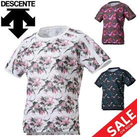 半袖 Tシャツ レディース/デサント DESCENTE フラワーグラフィック S/S TEE/スポーツウェア フィットネス 女性 花柄 総柄 クルーネック トップス 普段使い/DMWQJA52