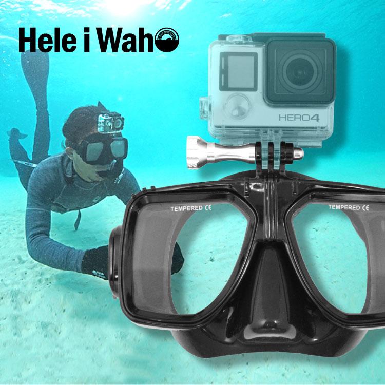 ダイビング や スノーケル に Go Pro 用 カメラマウント付き マスク 見たままを そのまま 撮れる 主観撮影 臨場感が違う Hele i Waho ヘレイワホ kiw キウ マスク|スキューバダイビング ダイビング用品 ダイビングマスク スノーケリング シュノーケル シュノーケリング