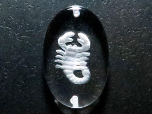 12星座 蠍座 水晶素彫りプレート 小判型 (両穴・貫通・ブレスレット用) 【穴あり一粒売りビーズ】