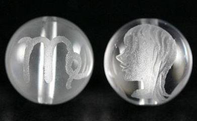12星座 天秤座(てんびん座) 水晶素彫り 12mm玉ビーズ 【穴あり一粒売りビーズ】
