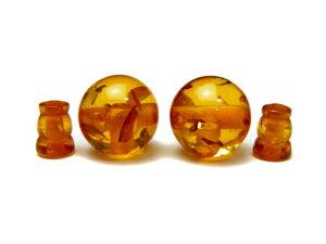 人工 数珠 (念珠) 【念珠】褐色シンセティック琥珀(アンバー) 親玉ボサセット 18mm 1組 中国産 風水 パワーストーン
