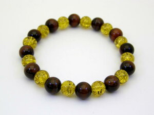【8mm_Simple_Combiブレスレット】 黄金爆裂水晶と赤トラメ石 8mmブレスレット 天然石 パワーストーン