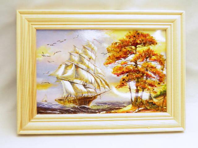Sサイズ インテリア・ディスプレイに 天然アンバー装飾 額縁付き絵画【バルト海産・天然琥珀使用】約10×14cm パワーストーン