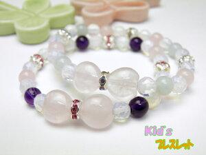 パワーストーン 子供用(キッズ)ハートリボンブレスレット アマゾナイト・アメジスト 数珠 ブレスレット