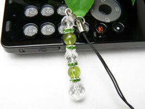 【ストラップ】 ストレートタイプ 水晶&ペリドット 携帯ストラップ 天然石 パワーストーン