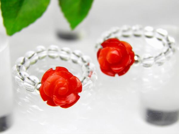 薔薇リング 指輪 赤珊瑚 レッドコーラル パワーストーン プチギフト 転勤 退職 お礼 母の日 敬老の日 クリスマス ギフト