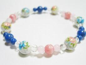 2色の薔薇プリント8mmハウライト インカローズ ラピスラズリ ブレスレット 数珠 ブレスレット 天然石 パワーストーン