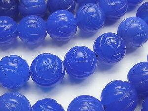 丸型 ブルーアゲートAAA ラウンドローズ(薔薇)カット10mm 一粒売り 手作りにオススメ! バラ売り 天然石 パワーストーン