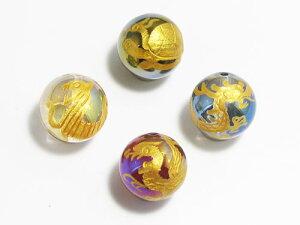 四神獣4点セット オーラ丸玉(金色入り) 彫刻ビーズ 14mm玉 青龍・朱雀・白虎・玄武 天然石 パワーストーン