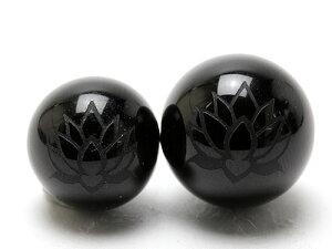 【彫刻ビーズ・彫りビーズ】ブラックオニキス 10mm 彫刻ビーズ 蓮花 白彫り 【彫刻 一粒売りビーズ】 天然石 パワーストーン