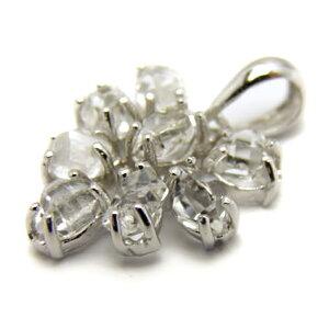 ハーキマーダイアモンド ペンダントトップ 結晶8石使用 1個売り フラワーモチーフ ニューヨーク州ハーキマー地区産 天然石 パワーストーン