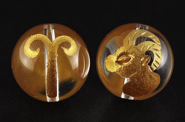 12星座 牡羊座(おひつじ座) 水晶金彫り 12mm玉ビーズ 【穴あり一粒売りビーズ】