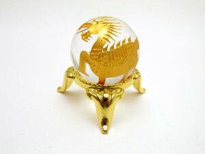 【彫刻置物】 丸玉 水晶26mm (金彫り) 麒麟 天然石 パワーストーン プチギフト 転勤 退職 お礼 母の日 敬老の日 ギフト