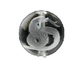 【彫刻ビーズ・彫りビーズ】水晶 白蛇 12mm 一粒売り ブラジル産 風水 パワーストーン