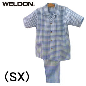 【WELDON】ウエルドンパジャマ 前開き半袖メンズパジャマサッカーブロックチェック綿100%乾燥機対応送料無料ギフトラッピング無料父の日内祝い2020 サマーセール夏のバーゲンSALE!!20%OFF!!