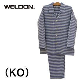 【WELDON】ウエルドンパジャマ 前開き長袖メンズパジャマ二重織りガーゼシャツパジャマ綿100%送料無料ギフトラッピング無料お見舞いお誕生日プレゼントに最適父の日