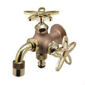 水生活製作所 二口万能胴長水栓(鋳肌・スミレハンドル) FBD16-SE