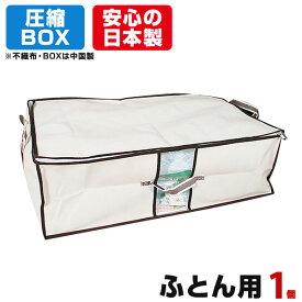 圧縮BOX ふとん用 (1セット入) 2個のご注文でもう1個プレゼント! 品質保証書付 不織布BOXと圧縮袋は別々に使用可能! 布団圧縮 ふとん圧縮袋 押入れ収納 ふとん収納 【安心の日本製】
