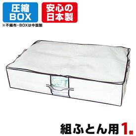 圧縮BOX 組ふとん用 (1セット入) 2個のご注文でもう1個プレゼント! 品質保証書付 不織布BOXと圧縮袋は別々に使用可能! 布団圧縮 ふとん圧縮袋 押入れ収納 ふとん収納 【安心の日本製】