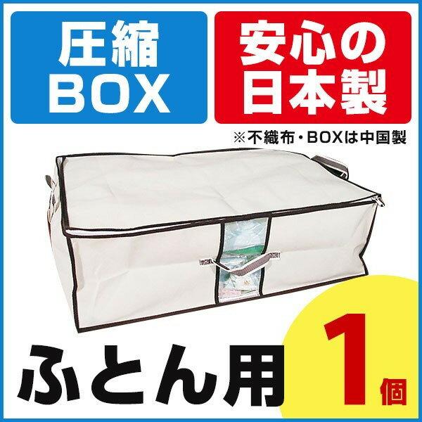 【期間限定ポイント2倍】圧縮BOX ふとん用 (1セット入) 2個のご注文でもう1個プレゼント! 品質保証書付 不織布BOXと圧縮袋は別々に使用可能! 布団圧縮 ふとん圧縮袋 押入れ収納 ふとん収納 【安心の日本製】