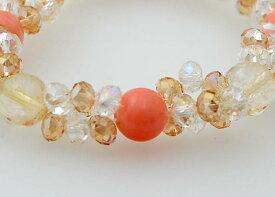 コーラルピンク ブリリアントブレスレット アクセサリー 珊瑚 サンゴ