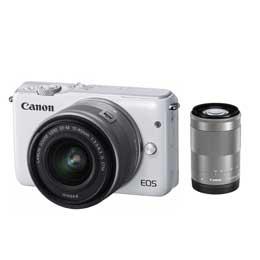【送料無料】Canon EOS M10 ダブルズームキット [ホワイト] デジタル一眼(ミラーレス一眼カメラ) JAN末番053173