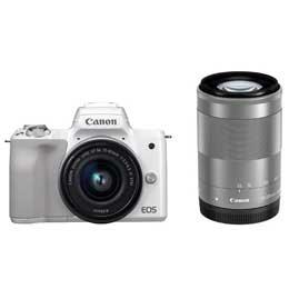 【送料無料】【即納】Canon EOS Kiss M ダブルズームキット [ホワイト] JAN末番9382