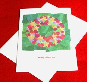 カラフル貼り絵風クリスマスカード『STAR WREATH』スターとボールのクリスマスリース(インポートカード)【グリーティングカード・ギフトカード・メッセージカード・greeting card message】【