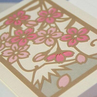 和風多目的アートカード「さくら」竹内一永切り絵「桜と富士山」