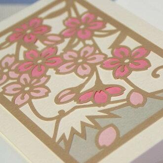 "Japanese-style multipurpose art card ""cherry tree"" 竹内一永切 り picture ""cherry tree and Mount Fuji"""