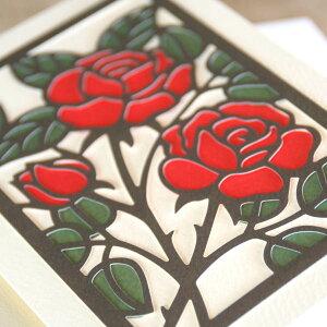 和風多目的アートカード「バラ」竹内一永切り絵「真紅の薔薇」【グリーティングカード・ギフトカード・メッセージカード・招待状・お祝い状・お礼状・greeting card message】【メール便可】