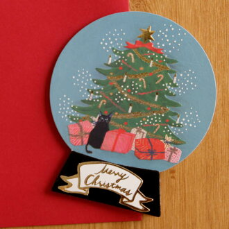 Snow Dome Type Mini Christmas Card A Tree And Black Cat