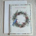 クラシカルクリスマスカード「木の実のナチュラルなリースと青い鳥」【メール便可】