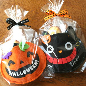 ハロウィンスイーツギフト「ポシェット」黒猫とジャック オ ランタンのポーチ入りカボチャのスコーンと柑橘系マドレーヌの2種の焼き菓子プチギフト