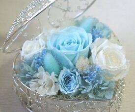 プリザーブドフラワーのバラのアレンジメント「ハート・ローズ・バスケット」 【母の日・ホワイトデー・結婚・誕生日・合格・卒業・退職・入学・就職・お祝い・お礼】