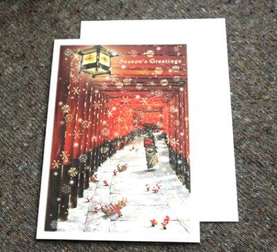 クリスマスカード「京都伏見稲荷神社とサンタクロース」